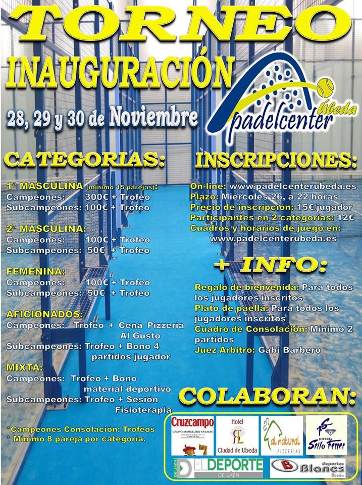 Pádel Center Úbeda organiza su Torneo de Inauguración