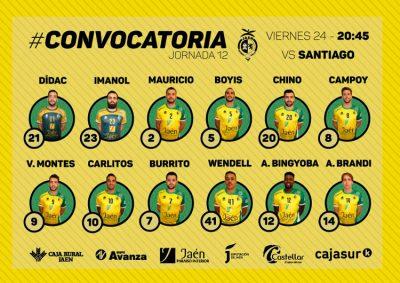 Convocatoria del Jaén FS para el partido ante el Santiago Futsal