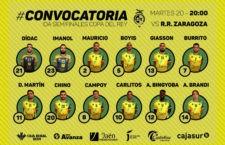 Convocatoria del Jaén FS para el partido de Copa del Rey en Zaragoza