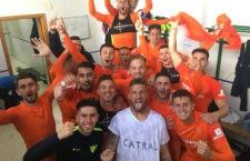 Los jugadores del Malagueño celebran el triunfo. Foto: Twitter Málaga CF
