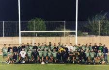 Imagen del entrenamiento conjunto entre Jaén Rugby y Jaén FS. Foto: Jaén Rugby.
