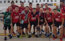 Los jugadores del Mengíbar FS antes de tomar su vuelo hacia Melilla. Foto: Mengíbar FS