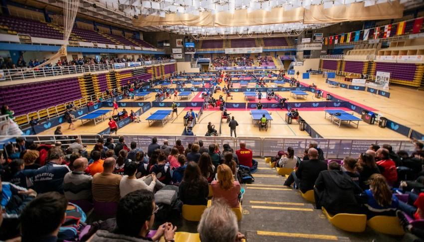 Polideportivo Pisuerga durante las rondas finales del Estatal de Tenis de Mesa 2019