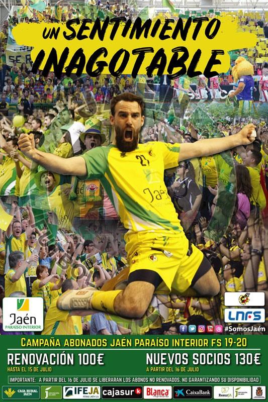 Cartel de la campaña de abonos del Jaén FS 2019-2020