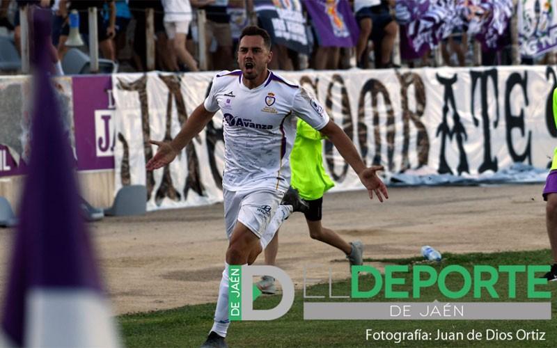 Antonio López celebra un gol con el Real Jaén
