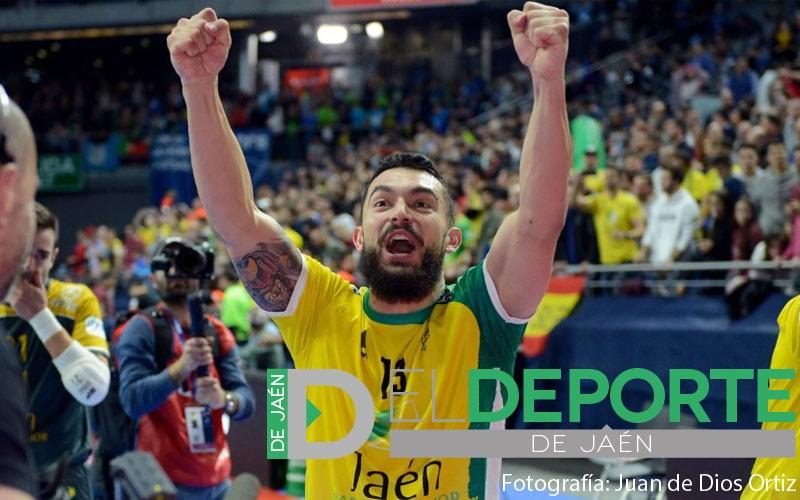 Giasson celebrando la Copa de España con el Jaén FS