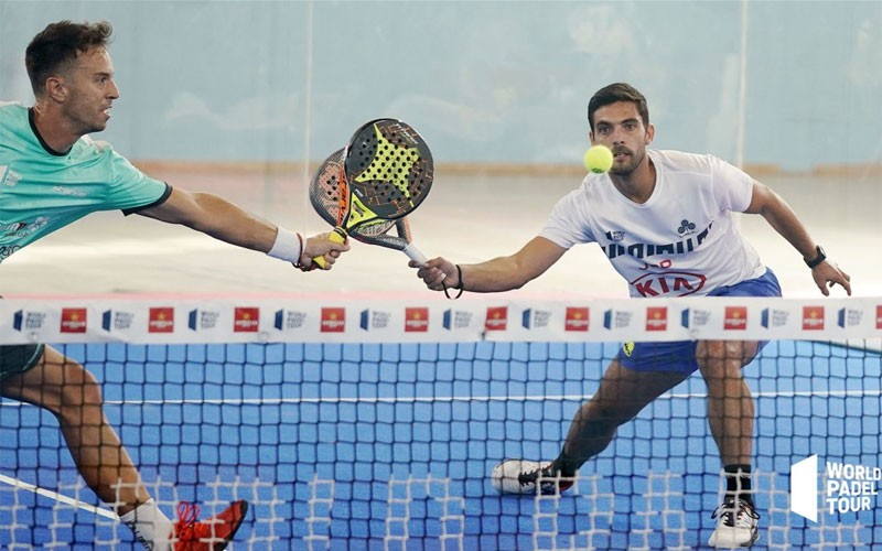 Antonio Luque y Miki Solbes en un partido World Padel Tour