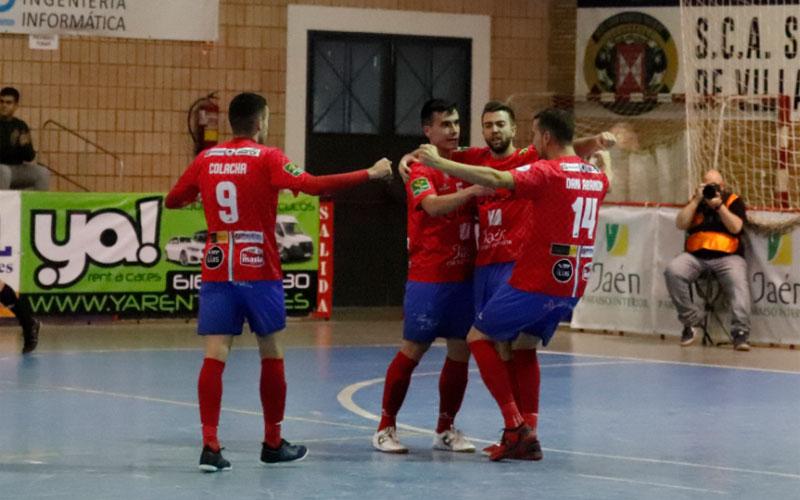 Jugadores del Mengíbar FS celebra un gol