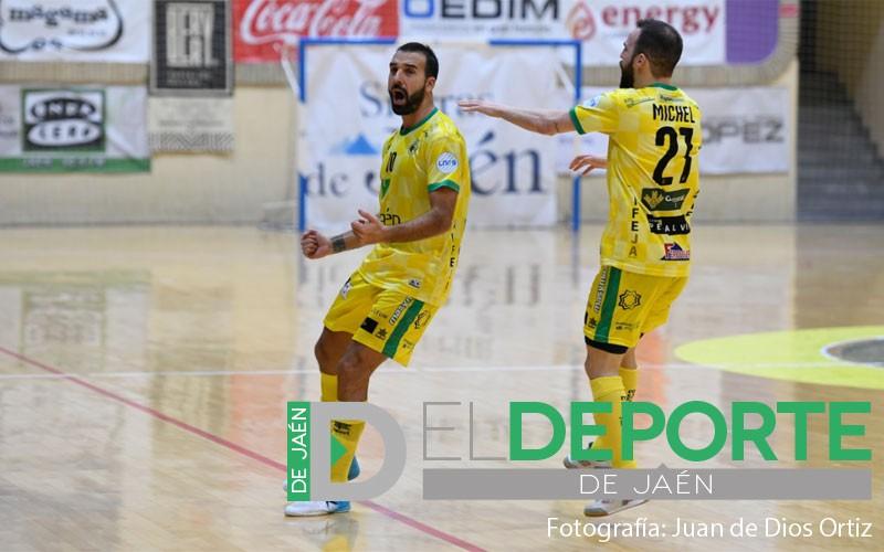 Carlitos y Míchel celebran un gol del Jaén Paraíso Interior