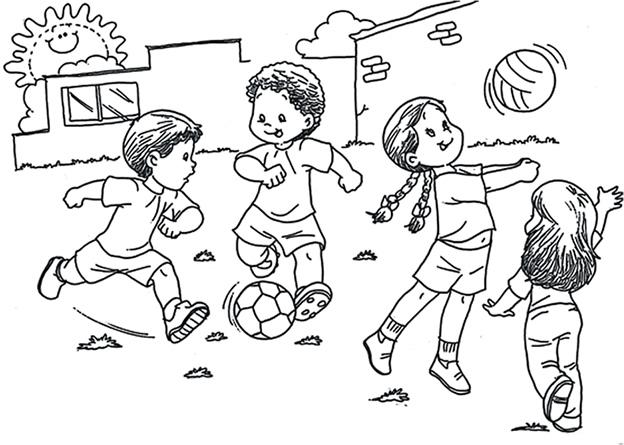 Imagenes Para Colorear De Niños Jugando Pelota Imagui