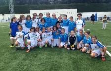 Las jugadoras de Jaén y Málaga posan conjuntamente a la finalización del torneo. Foto: FJF.