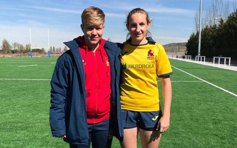 Lea Ducher y Carmen Carmona, jugadoras de rugby femenino