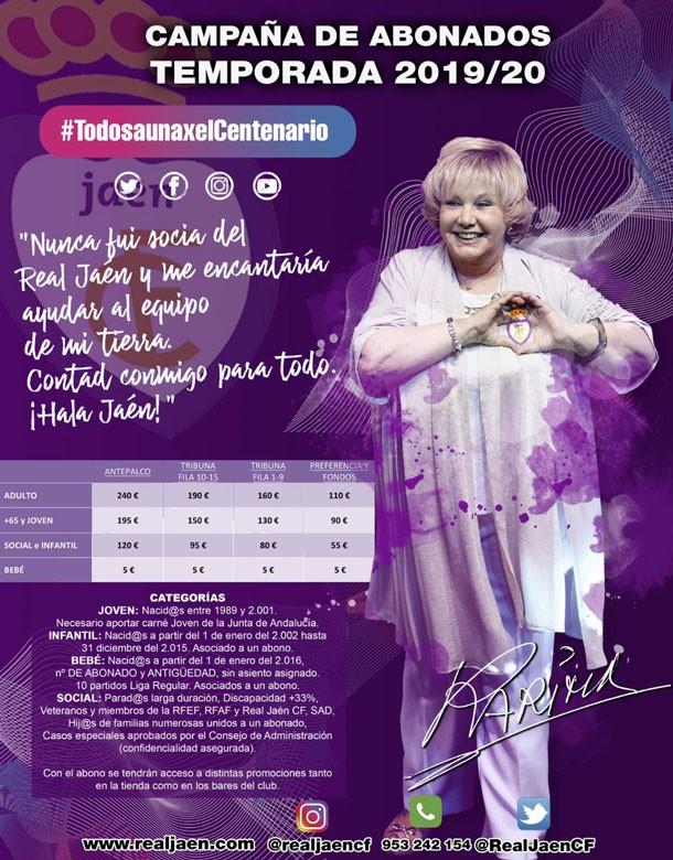 Karina protagoniza el cartel de la campaña de abonos del Real Jaén