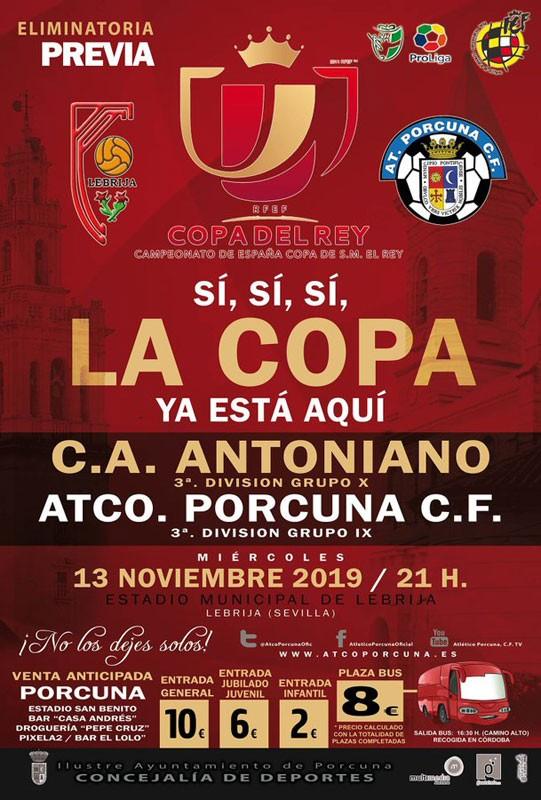 Cartel del choque de Copa del Rey entre Antoniano y Porcuna