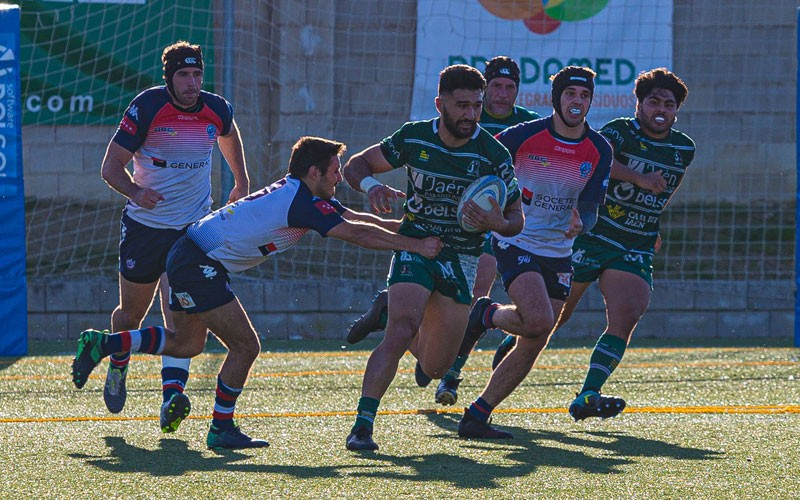 acción del partido entre jaén rugby y liceo francés