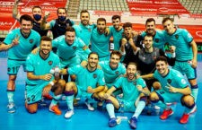 Jugadores granotas celebran su último triunfo. Foto: Levante UD FS.