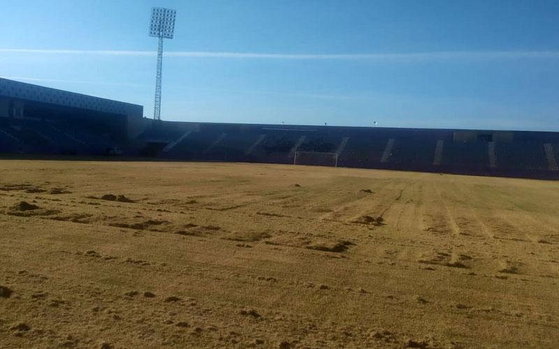 El Real Jaén inicia los trabajos de mejora del césped de La Victoria